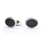Gemelli ovali in smalto nero