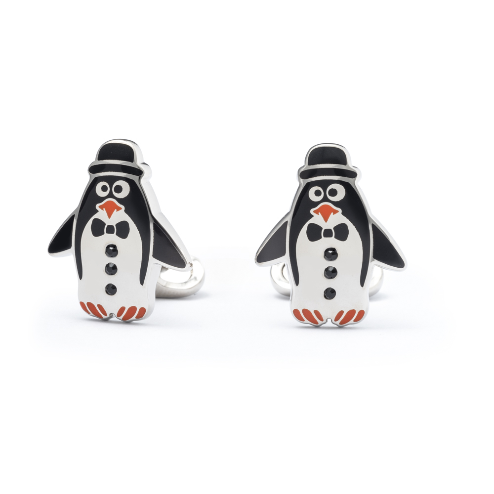 """Gemelli """" Pinguino"""" in smalto e Swarovski"""