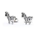 """Gemelli """" Zebra"""" in smalto e Swarovski"""