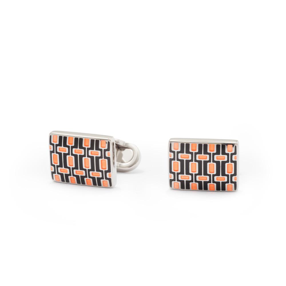 Gemelli rettangolari in smalto-Arancio