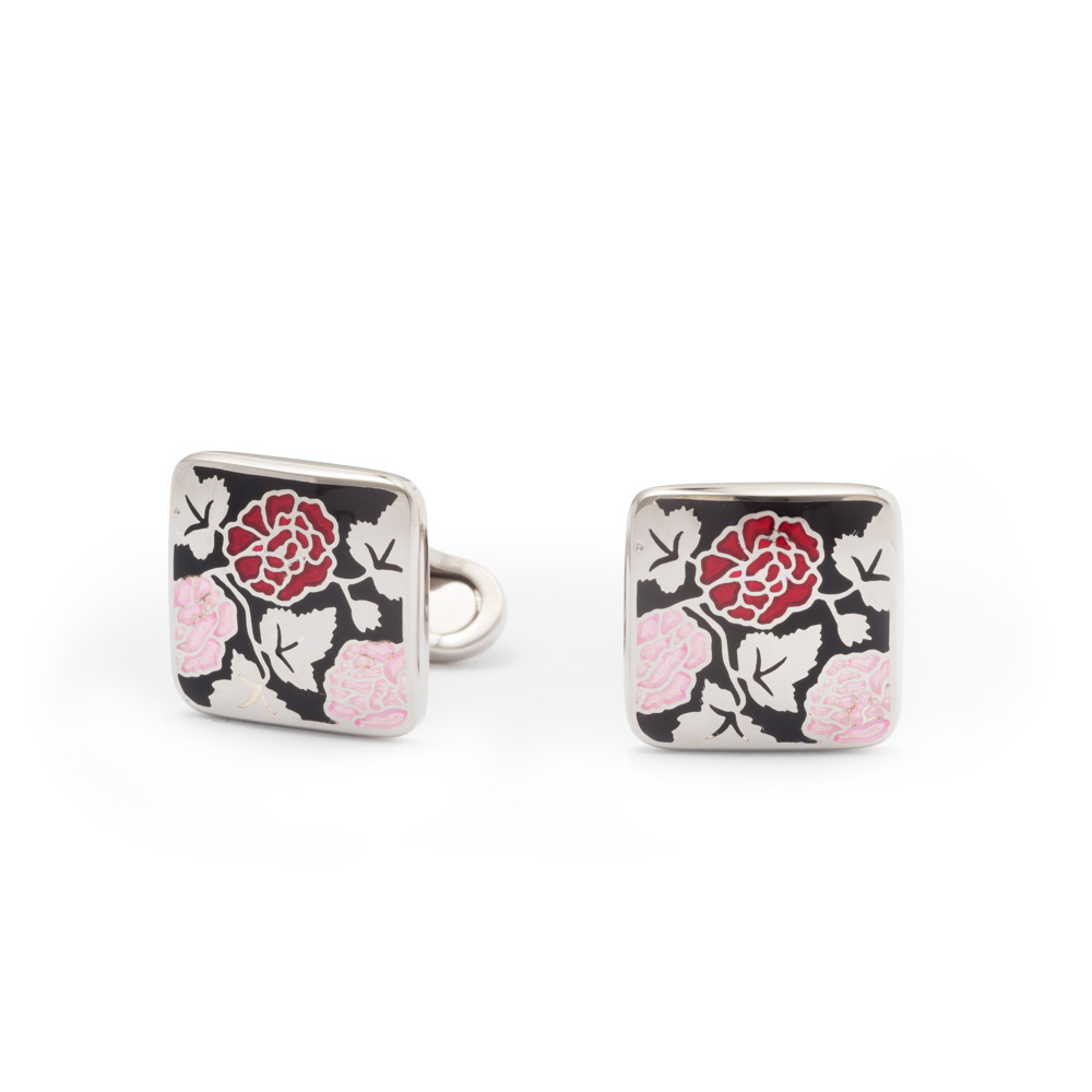 Gemelli da polso con motivo floreale - Rosa