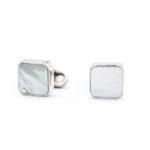 Gemelli quadrati con pietre semipreziose-Madreperla
