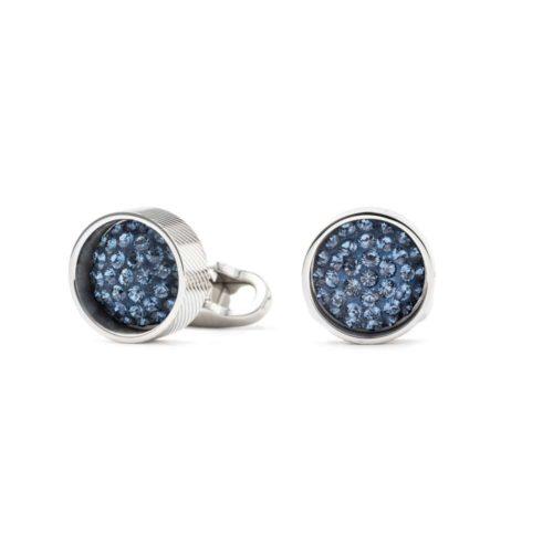 Gemelli rotondi con cristalli Swarovski azzurri