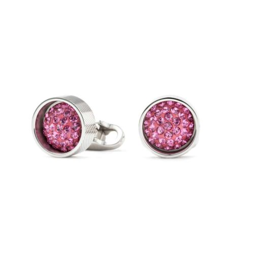 Gemelli rotondi con cristalli Swarovski rosa